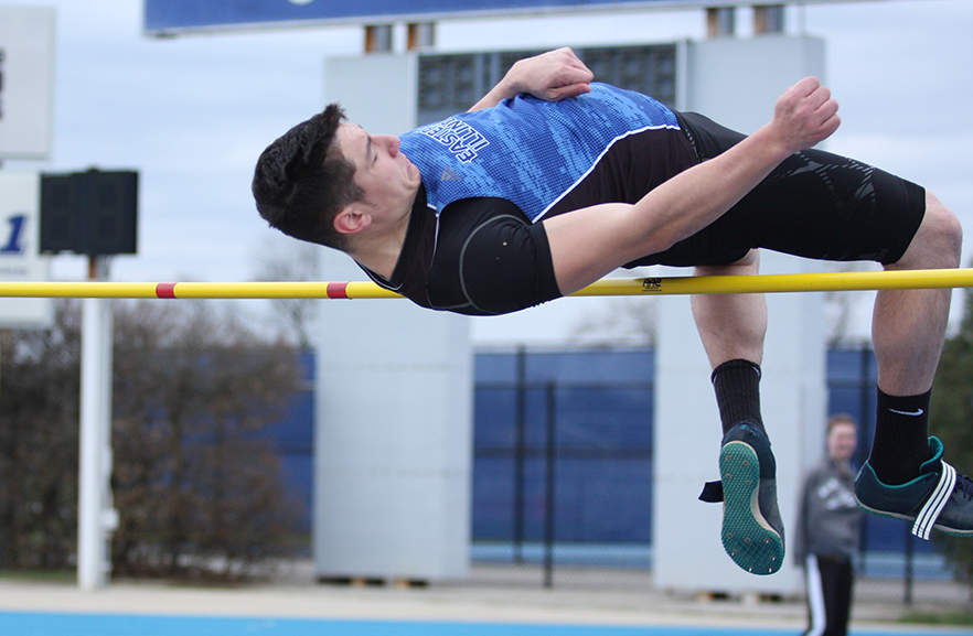 File Photo | The Daily Eastern News Senior Ashton Wilson jumps in a meet last Spring at O'Brien. Eastern travels to Illinois on Saturday to compete in the Illinois Intercollegiate Indoor meet.