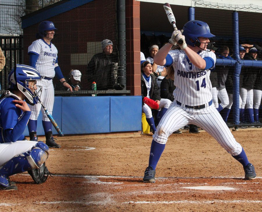 Eastern senior Mady Poulter stands at the plate in an Eastern win over Indiana State last season at Williams Field. The Eastern softball team is 4-14 to begin its season.
