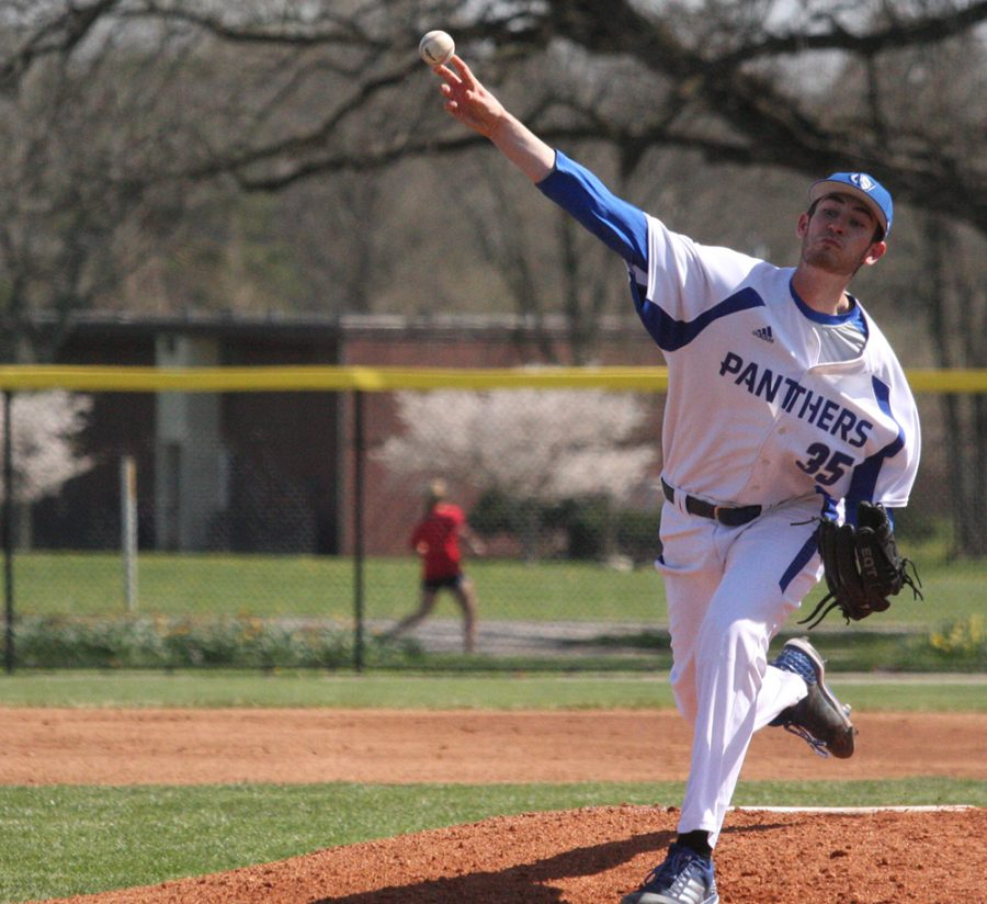 Tyler Jones throws a pitch during his start against Morehead State in a 9-8 Eastern, extra-innings win in April 2018 at Coaches Stadium. Eastern's pitching staff entered Tuesday's game with a 5.58 era, but earned its first shutout against Butler Tuesday.