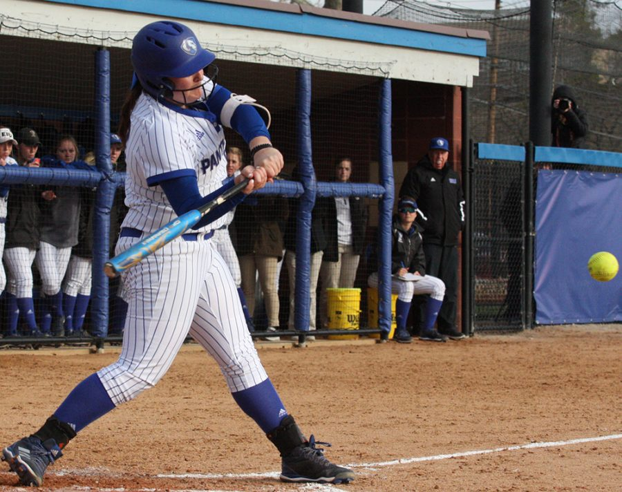 Haley Mitchell swings at a pitch in her at-bat during Eastern's 2-0 win over Indiana State at Williams Field in April 2018. Eastern's softball team went 5-5 over a 10-game stretch.
