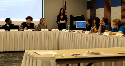 Alicia Matusiak (center), student VP of student affairs, addresses the senate Wednesday night at the Student Senate meeting in the Martin Luther King Jr. University Union.