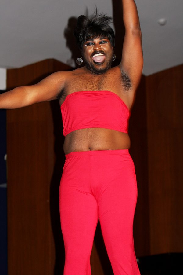 Lady Deviant performs their routine Friday night during the EIU Student Drag Show in the Grand Ballroom of the Martin Luther King Jr. University Union.