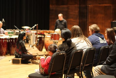 People come and watch Saturday Night Live percussionist Valerie Naranjo perform with the West Percussion Trio on Tuesday evening in the Dvorak Concert Hall in the Doudna Fine Arts Center.