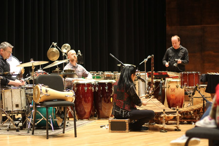 Valerie Naranjo, a Saturday Night Live percussionist, joins the West Percussion Trio to perfom a show in the Dvorak Concert Hall in the Doudna Fine Arts center on Tuesday evening.