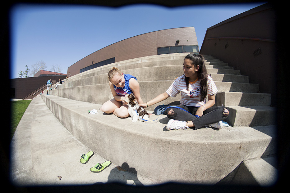 Roomates Elizabeth Houck, a freshman graphic design major, and Fatima Estrada, a freshman sociology major, hang out on the Doudna Steps with their dog Dash Wednesday afternoon.