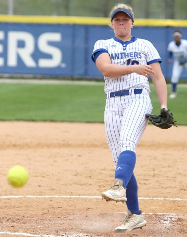 Eastern's McKenna Coffman throws a pitch in the Panthers' 7-1 win over IUPUI Tuesday at Williams Field. Eastern is now 11-12 in non-conference play.