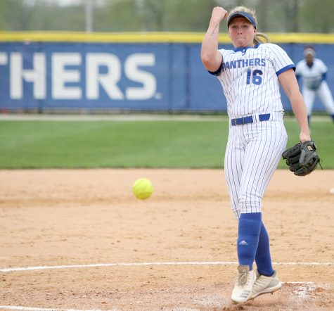 Eastern's McKenna Coffman lets a pitch loose in the Panthers' 7-1 win over IUPUI Tuesday at Williams Field. It was the Panthers' 11th non-conference win of the season.
