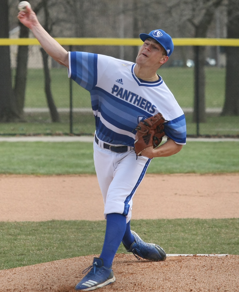 Eastern junior Michael YaSenka fires a pitch in the Panthers' 10-9 loss to Southeast Missouri Sunday at Coaches Field.