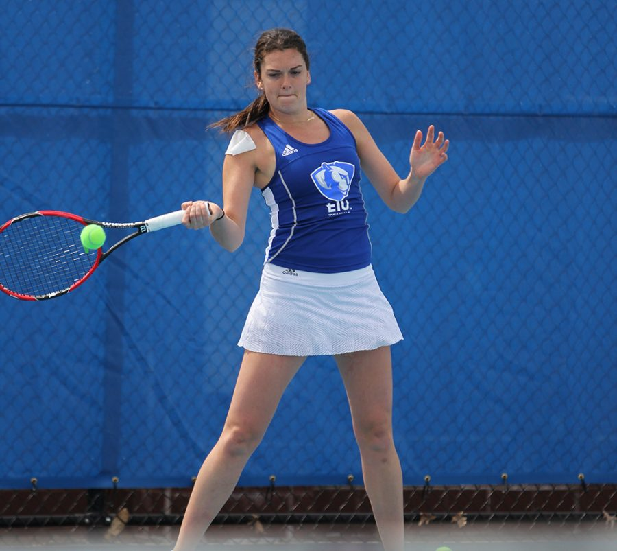 Eastern's Abby Carpenter returns a ball in the Panthers' 6-1 loss to Murray State Saturday at the Darling Courts. Saturday was senior day for the women's tennis team.