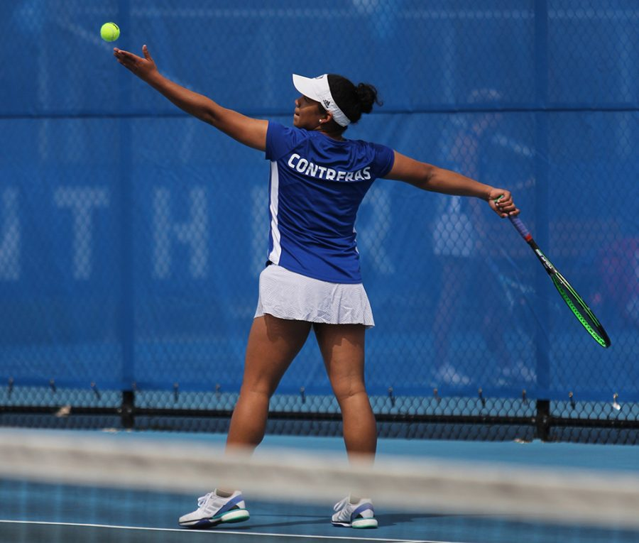 Eastern's Karla Contreras serves a ball in the Panthers' 6-1 loss to Murray State on April 13. Eastern finishes its regular season this weekend.