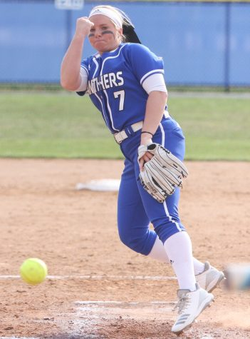 Eastern's Jade Montgomery throws a pitch in the Panthers' 6-4 loss to Indiana State April 3 at Williams Field. Eastern play Southeast Missouri on the road this weekend.