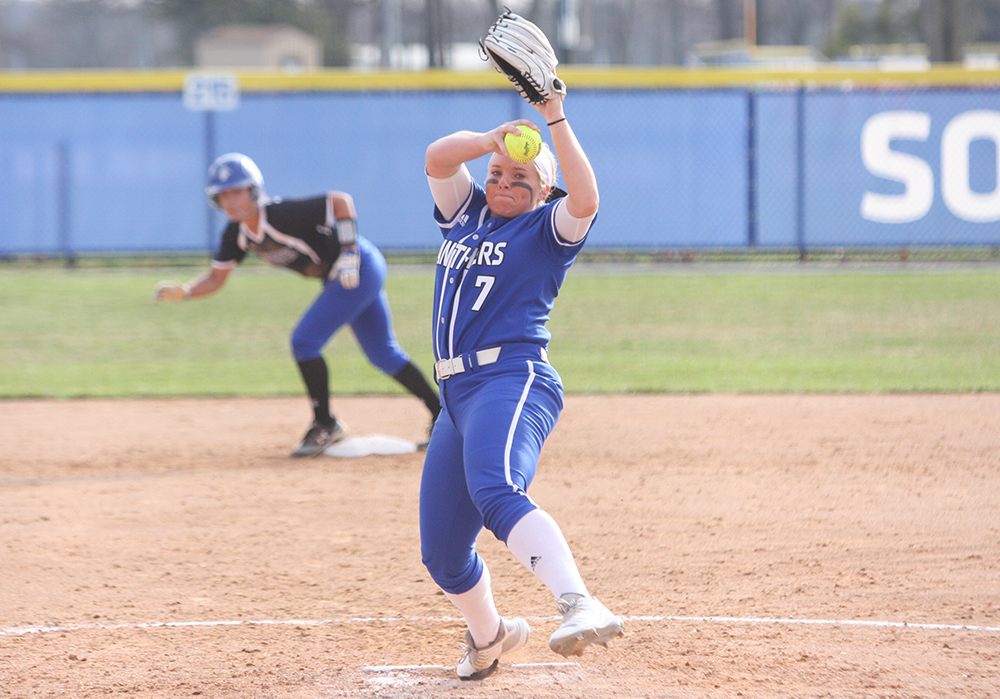 Eastern's Jade Montgomery throws a pitch in the Panthers' 6-4 loss to Indiana State April 3 at Williams Field. Eastern travels to play Morehead State this weekend.
