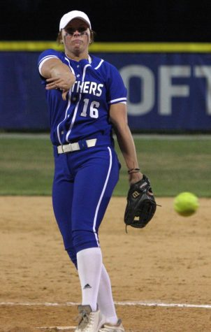 Eastern's McKenna Coffman tosses a pitch in the Panthers' 13-0 loss to Southern Illinois Edwardsville on April 9. Coffman threw six scoreless innings in a 3-0 win over Butler on Wednesday.