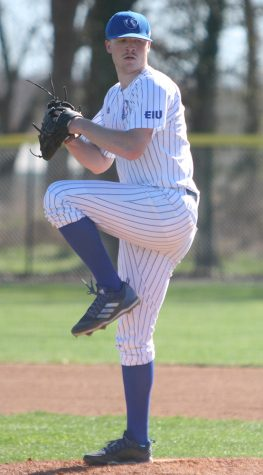 Eastern pitcher Will Klein winds up in Eastern's 9-8 loss to Southern Illinois Tuesday at Coaches Field. Klein tossed two innings in the game.