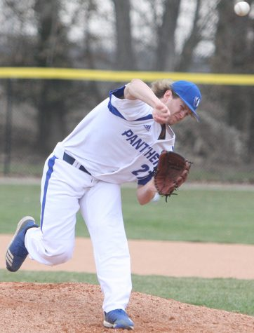 Jesse Wainscott throws a pitch during Eastern's 11-1 victory over Illinois College April 3 at Coaches Stadium. Wainscott earned his second victory of the season with the win.