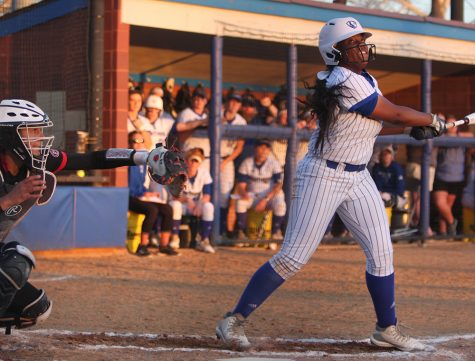 Mia Davis watches her hit sail foul in Eastern's first loss to Southern Illinois Edwardsville Tuesday night at Williams Field. Eastern dropped both games of the doubleheader.