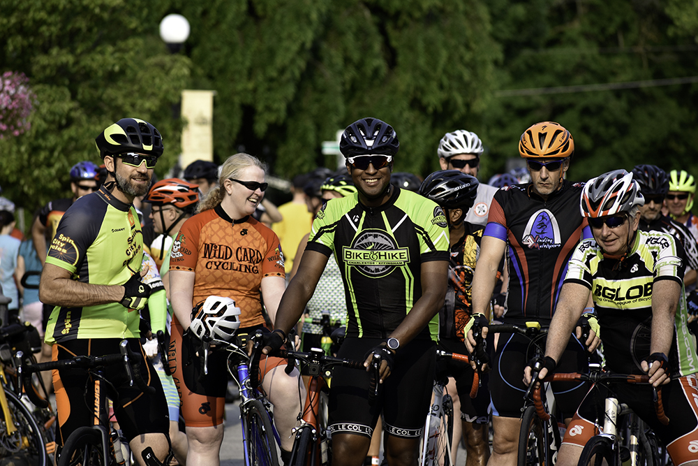 Cyclists line up at the start line during the 3rd annual Tour de Charleston on June 1. The Tour's start and finish line were between the Charleston Chamber of Commerce and City Hall buildings. More than 300 cyclists participated this year.