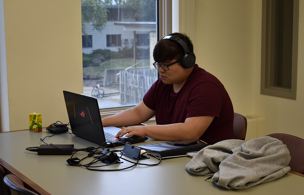 Cheung Ho Hon, a sophomore civil engineering student at Lake Land College, studies in Booth Library Wednesday afternoon.