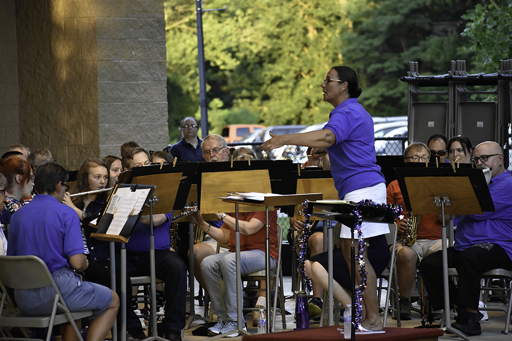 Director Ginger Stanfield conducts the Charleston Community Band as it performs
