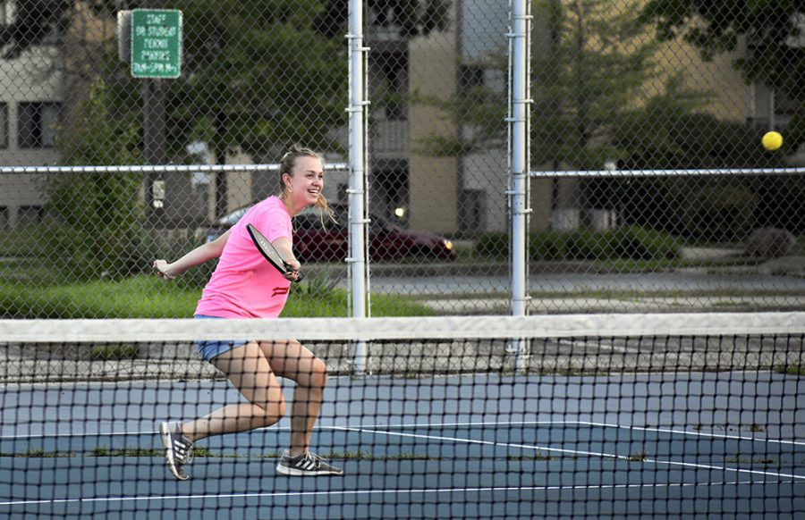 Olivia Bommelje, a graduate from the Charleston High School Class of 2019, plays pickleball with a friend at the tennis court next to Andrew Hall Tuesday afternoon. Bommelje said she will attend the University of Missouri and major in engineering.