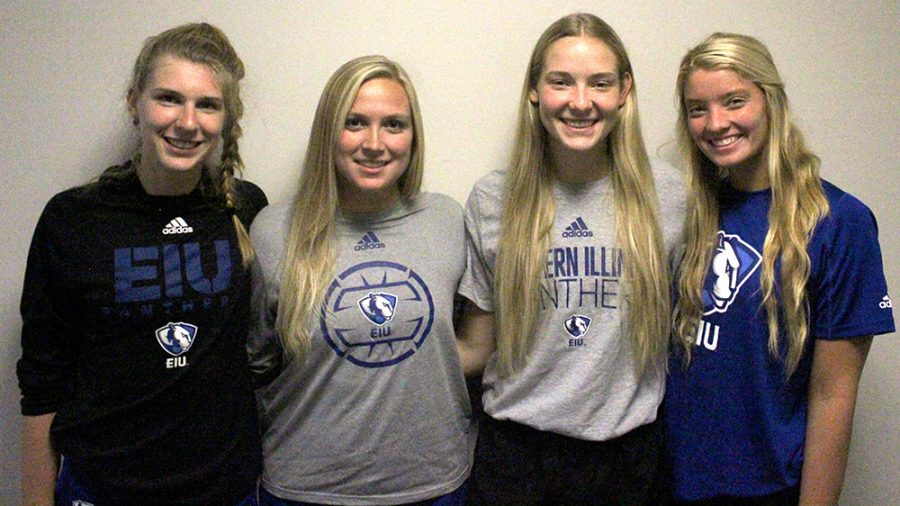 Adam Tumino   The Daily Eastern News The senior members of the Eastern volleyball team (from left) Morgan Matusik, Breanna Jager, Maggie Runge and Katie Sommer are about to begin their final season together.
