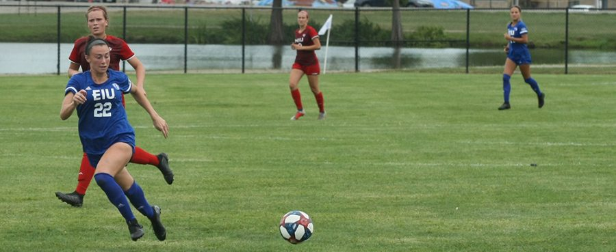 Dillan Schorfheide | The Daily Eastern News Nicoletta Anuci tracks down a long pass from a teammate during the Eastern women's soccer team's 1-1 exhibition match draw against Northern Illinois Friday at Lakeside Field.