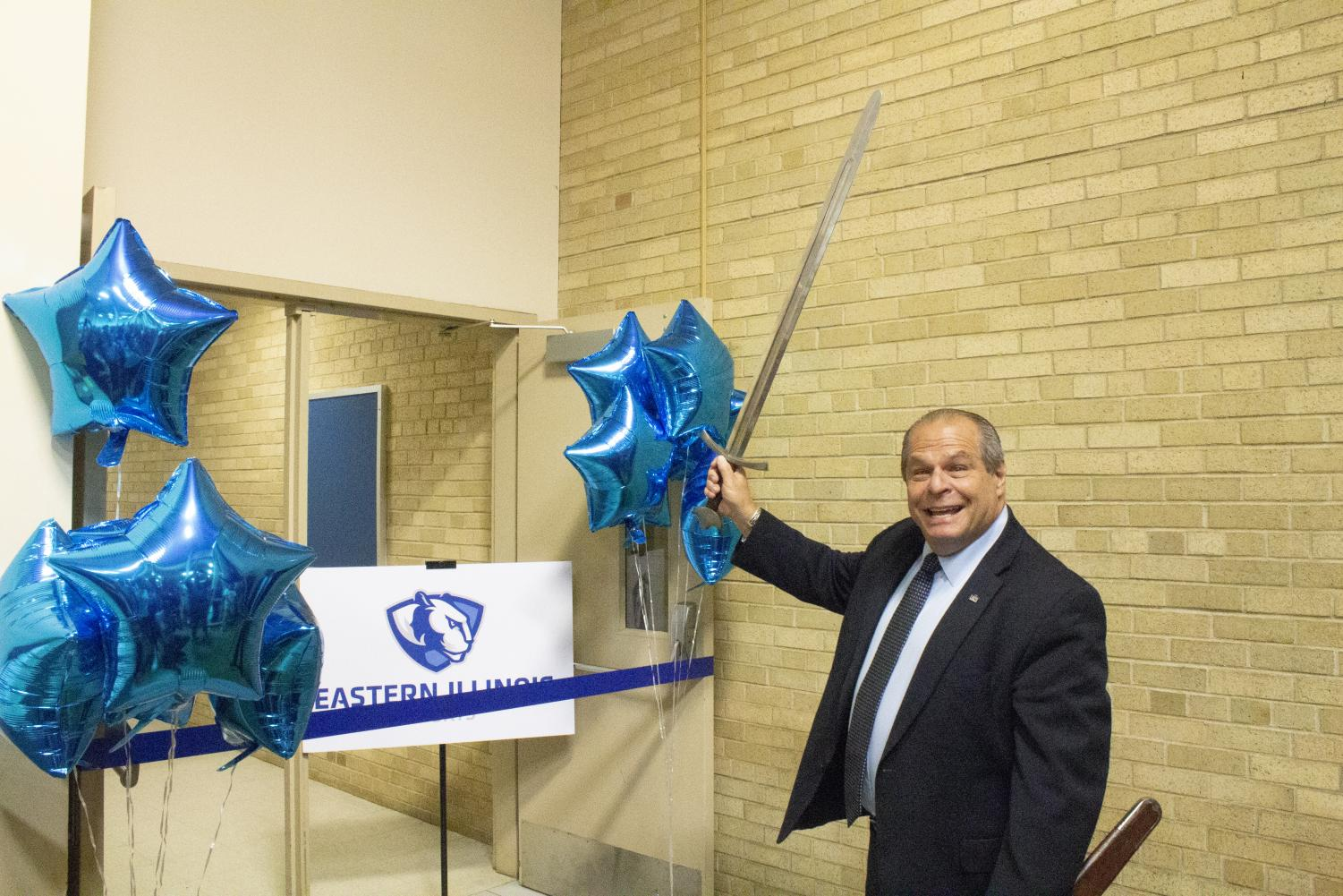 Eastern President David Glassman is ready to cut the ribbon with a sword for the new eSports arena in Lantz Arena. The arena will host video game tournaments and teams.