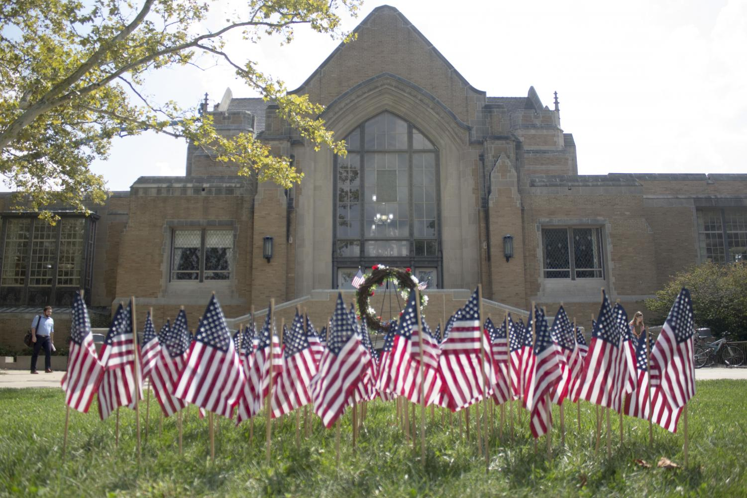 The 9/11 memorial is set up in front of the Booth Library to honor the heroes from 9/11. 2019 marks the 18th anniversary of the attacks