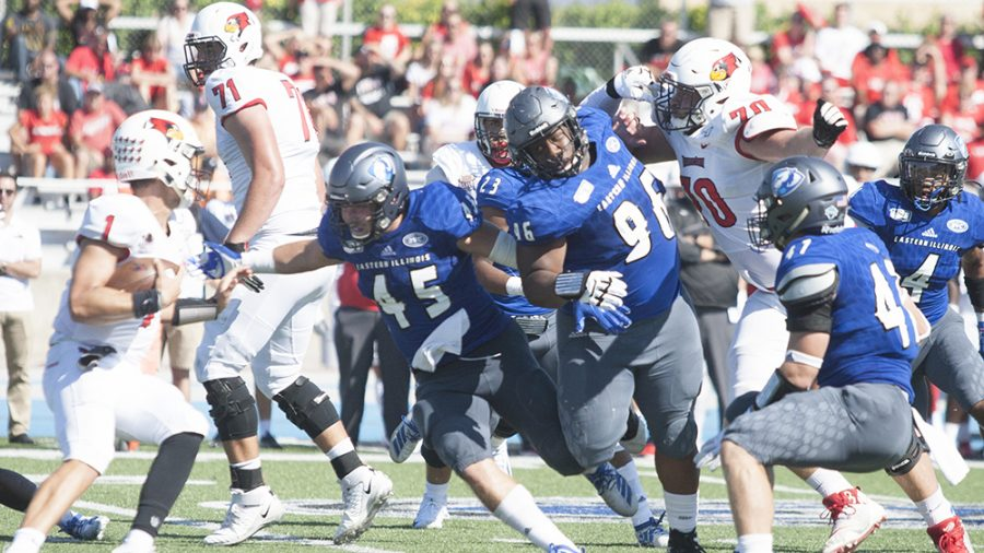 Karina Delgado | The Daily Eastern News Terrell Greer breaks through the offensive line to chase down the ball carrier. Eastern lost to Illinois State 21-3 Saturday at O'Brien Field.