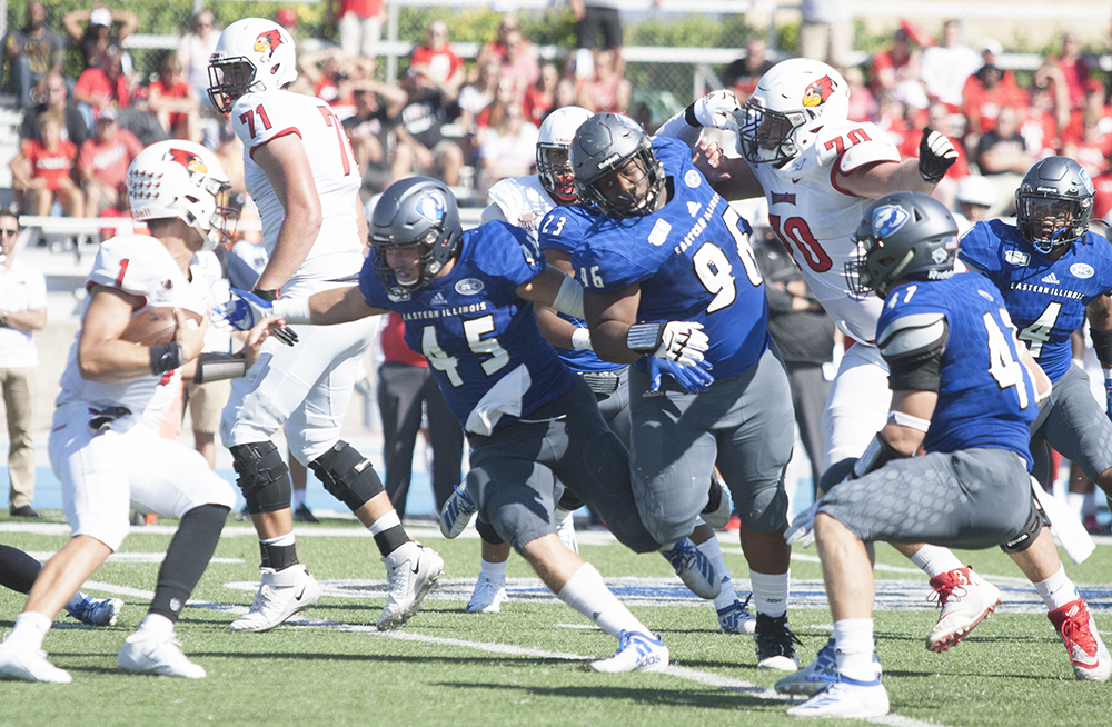 Terrell Greer breaks through the offensive line to chase down the ball carrier. Eastern lost to Illinois State 21-3 Saturday at O'Brien Field.