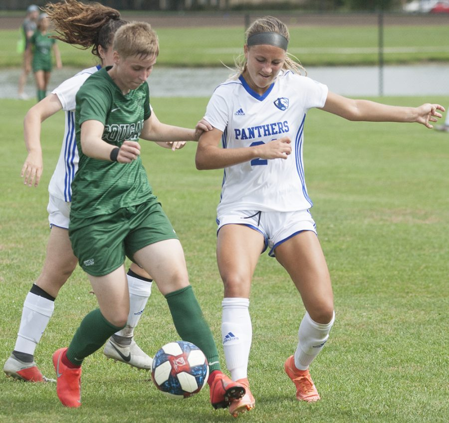 Karina Delgado | The Daily Eastern News Freshman Kenzie Balcerak attempts to steal the ball against the Cougars in Eastern's 3-1 win against Chicago State on Sept. 15th at Lakeside Field.