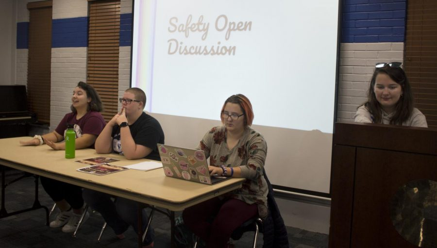 Sam Hennegan (far left), a sophomore double majoring in English and philosophy, Alex Mullin (left), a sophomore majoring in mathematicians education, Liz Wilson (right), a senior majoring in 2D studio art and Grase Osborn (far right), a senior majoring in biological sciences, lead a Safety Open Discussion during Pride on Monday evening at the Martin Luther King Jr. Student Union in the Charleston/Mattoon room. They covered topics such as pronouns and resources like the Center for Gender and Sexual Diversity and Transformation Station, which is located in the lower level of Stevenson Hall.