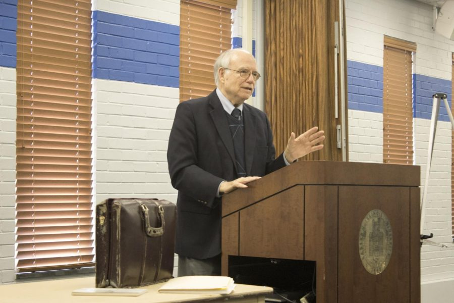 Charles Wheeler presents to the Eastern Illinois University Annuitants Association as the first speaker of the association's speaker series Wednesday afternoon. Wheeler reassured retirees their pensions will not be cut.