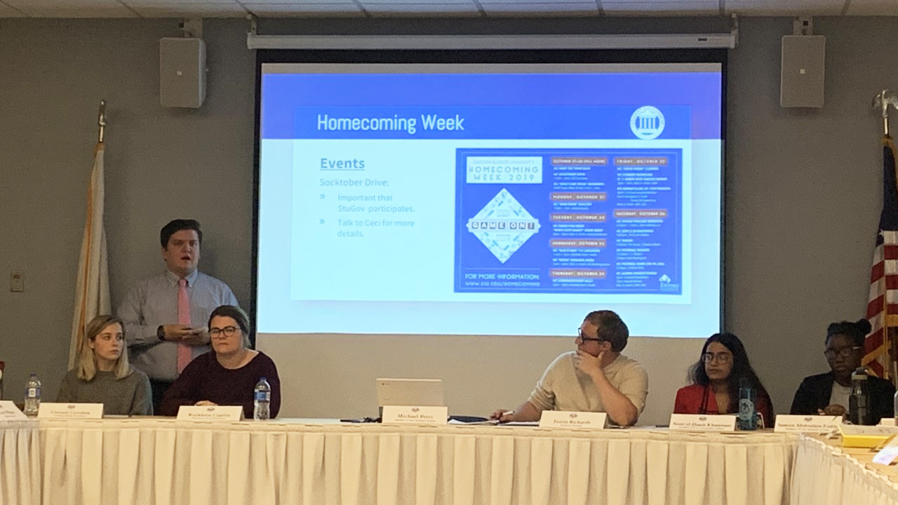 Student Senate explains details for homecoming week events for the next following week.