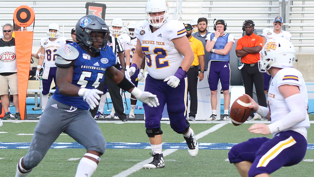 Adam Tumino | The Daily Eastern News Charlie Brooks chases down the opposing quarterback, as the quarterback tries to scramble to look for an open receiver. Eastern lost 40-29 to Tennessee Tech Sept. 28 at O'Brien Field.