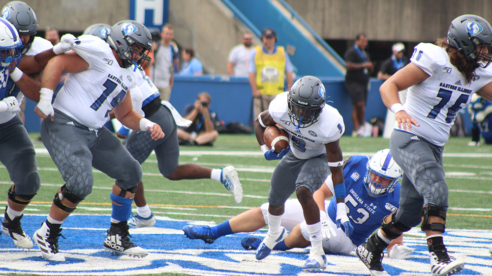 Adam Tumino | The Daily Eastern  Runningback Jaelin Benefield avoids a tackle and breaks through the offensive line in Eastern's 16-6 loss against Indiana State at Memorial Stadium.