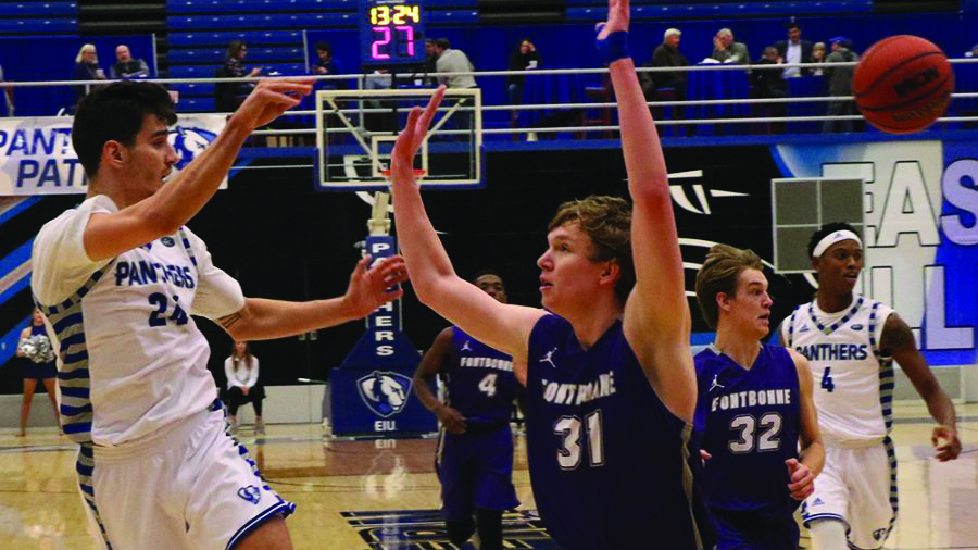 Rade Kukobat attempts a jump-pass during a fast break during Eastern's 90-37 victory over Fontbonne University last season in Lantz Arena. The Panthers were picked to finish 7th in the OVC this season.