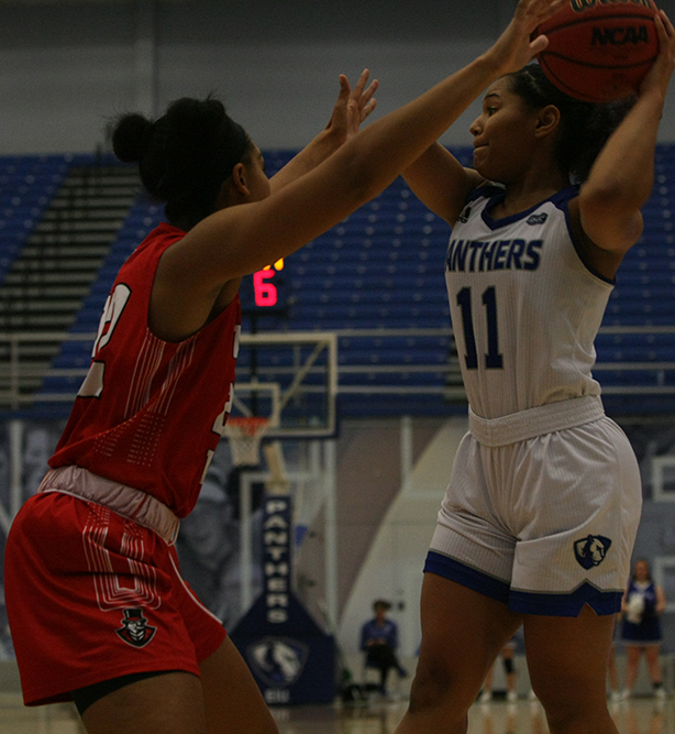 File Photo | The Daily Eastern News Junior guard Karle Pace looks to move the ball in Eastern's73-60 loss against Austin Peay on Jan. 19th at Lantz Arena.