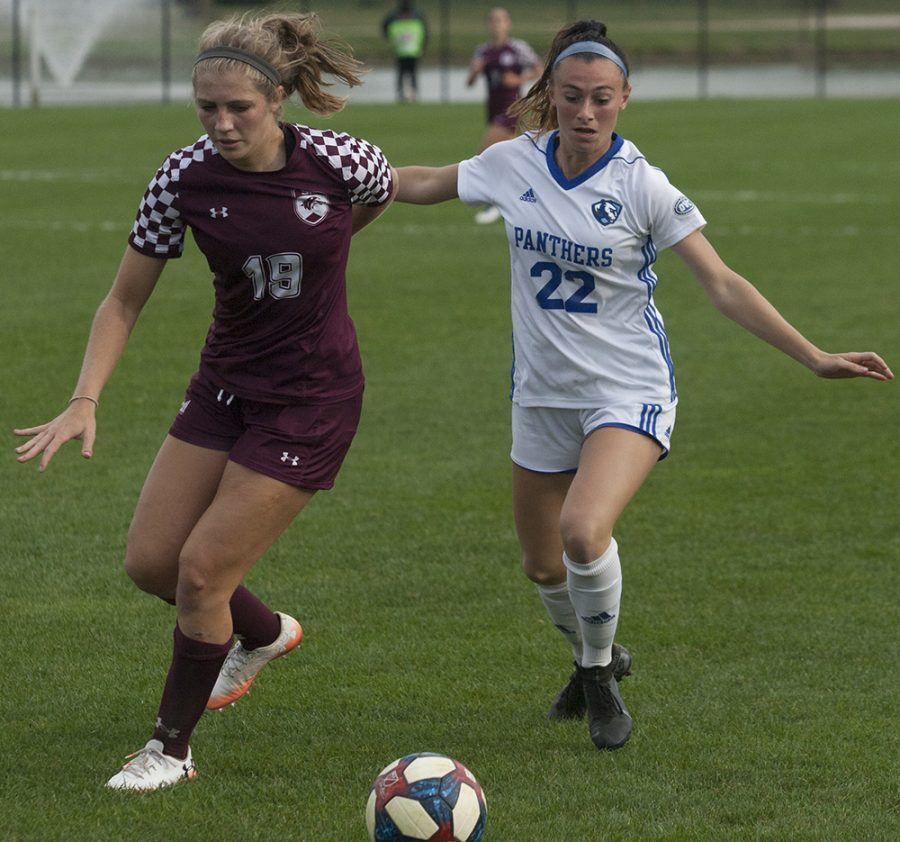Dillan Schorfheide | The Daily Eastern News Midfielder Nicoletta Anuci tries to stel the ball in Eastern's 0-0 double overtime tie agaisnt Southern Illinois Edwardsville.
