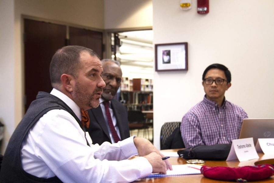 Eastern Provost Jay Gatrell speaks to Eastern's Faculty Senate Nov. 12, 2019 in Booth Library. Gatrell updated the Senate on searches for two vice president positions and two dean positions.