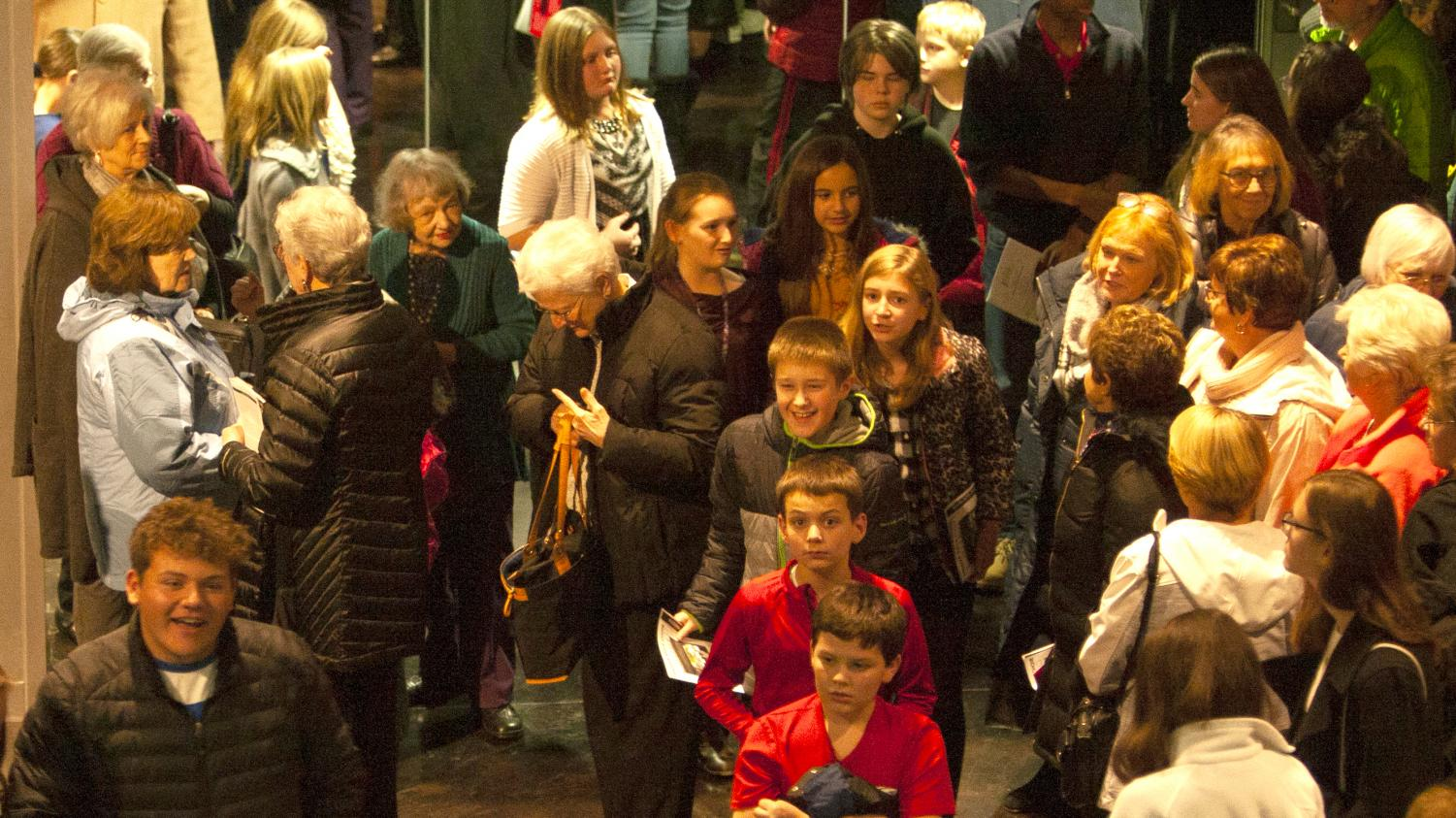 Audience members leave the Dvorak Concert Hall after a concert by the Vienna Boys Choir on Nov. 14. The concert began at 7:30 p.m. and general admission was $20.