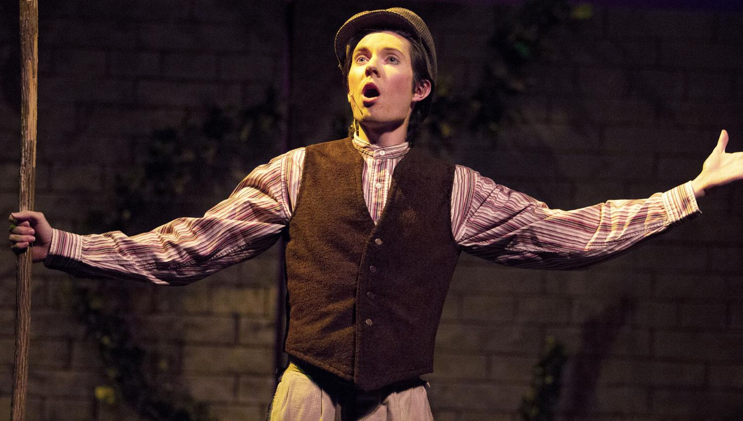 "Dickon, played by graduate student Keegan Tucker, sings ""Winter's on the Wing"" during ""The Secret Garden"" tech week rehearsals. Tuckers said he loves the camaraderie among cast members and is sad to see the performances end so soon."
