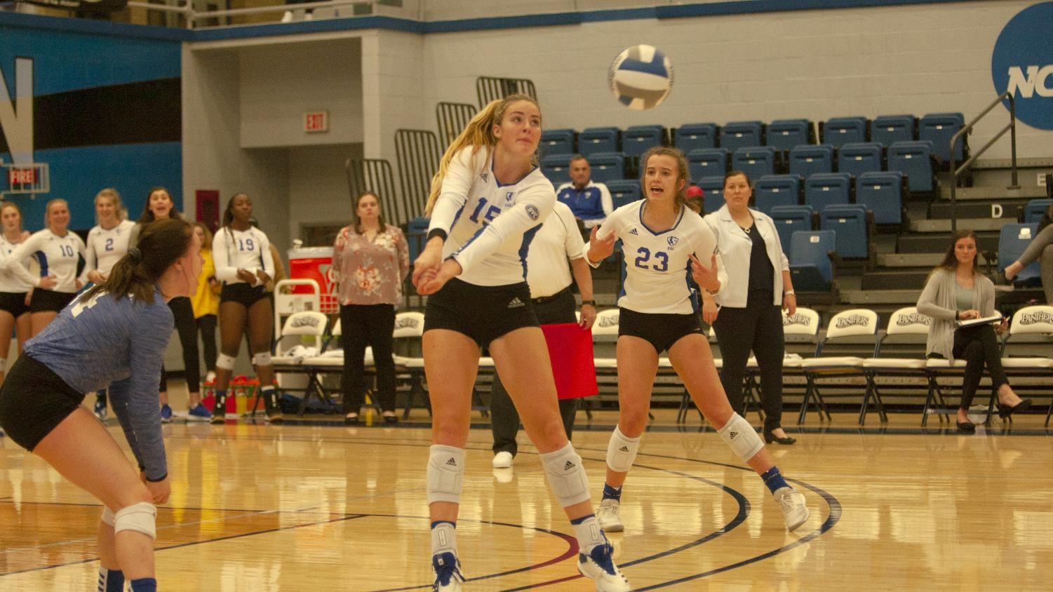 Eastern junior Laurel Bailey steps in front of a serve to make a pass against Southern Illinois Edwardsville Nov. 6 in Lantz Arena. Bailey had eight kills and 12 digs in the match, a 3-0 loss for the Panthers.