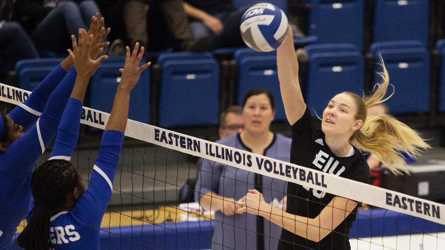 Eastern senior Maggie Runge makes contact on a kill attempt against Tennessee State on Nov. 9 in Lantz Arena. The Panthers lost the match 3-1. Runge recorded 11 kills and led the team with 13 points.