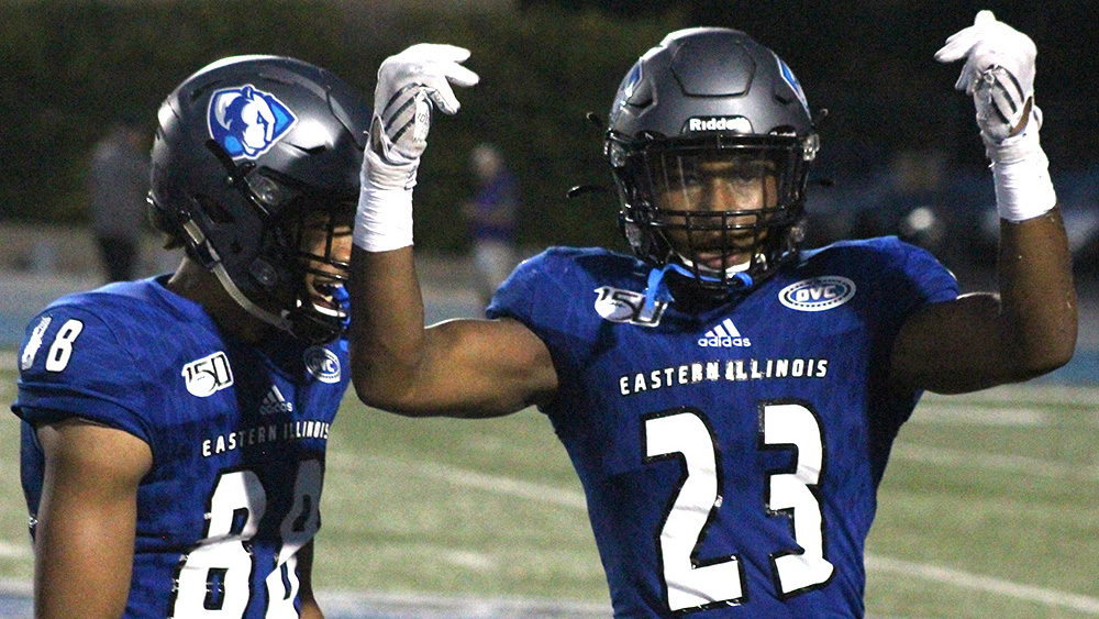 Eastern freshman defensive back JJ Ross (right) and teammate Trevon Brown celebrate following a play against Tennessee Tech on Sept. 28 at O'Brien Field. The Panthers lost the game 40-29
