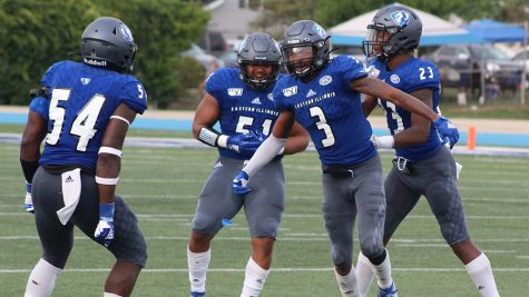 Members of the Panther defense celebrate a big play against Tennessee Tech Sept. 28 at O'Brien Field. The defense forced two turnovers in the game, a 40-29 loss.