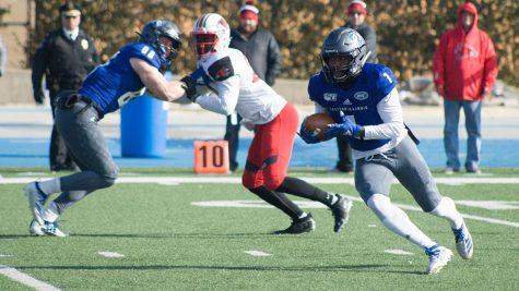 Eastern receiver Isaiah Hill turns the corner as James Sheehan blocks on a 73-yard completion in the first quarter against Southeast Missouri on Nov. 16 at O'Brien Field. Hill had 13 catches for 152 yards and a touchdown in the Panthers' 26-12 loss to the Redhawks.