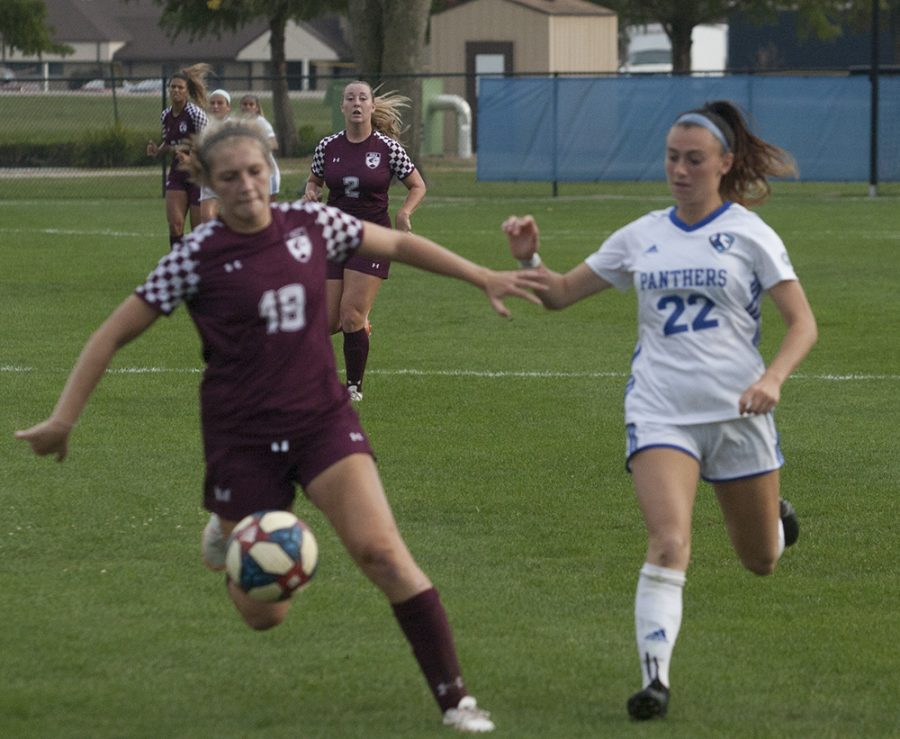 Dillan Schorfheide | The Daily Eastern News Midfielder Nicoletta Anuci attempts to steal the ball in Eastern's 0-0 double overtime tie against Southern Illinois on Oct. 10th at Lakeside Field.