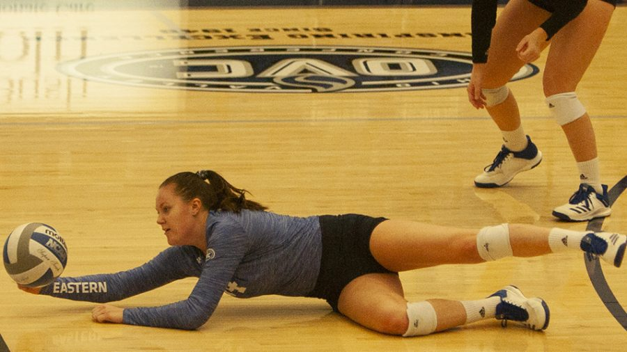 Adam Tumino | The Daily Eastern News Sarah Paluch dives to save a ball during Eastern's 3-2 victory over Chicago State Nov. 11 in Lantz Arena. Eastern lost its final match of the season 3-0 to Southeast Missouri in Lantz Arena Nov. 16.