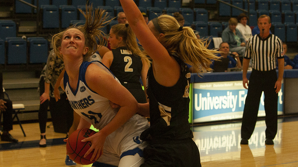 Eastern forward Abby Wahl fights through contact under the basket against Lindenwood on Nov. 5 in Lantz Arena. Wahl had 17 points in a 88-66 win for the Panthers.